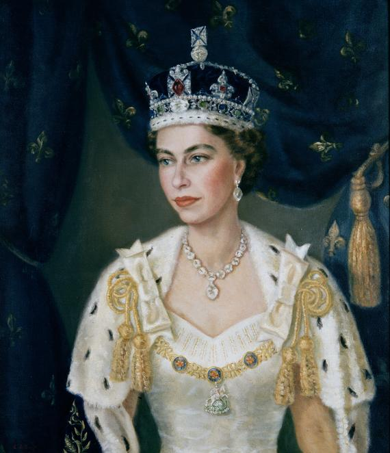 queen elizabeth ii coronation robes. Portrait of Queen Elizabeth II wearing coronation robes and the Imperial